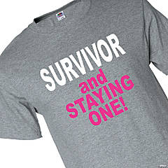 Pink Ribbon Survivor Adult's T-Shirt - Extra Large