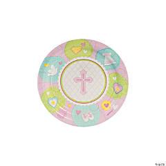 Pink Sweet Christening Paper Dessert Plates - 8 Ct.