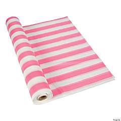 Pink/White Striped Plastic Tablecloth Roll