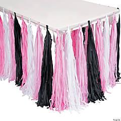 Pink/Black/White Fringe Table Skirt