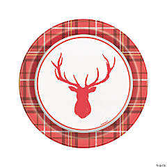 Plaid Deer Christmas Dessert Plates