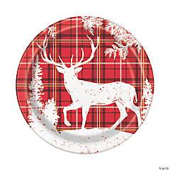Plaid Deer Christmas Dinner Plates