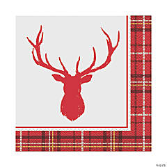 Plaid Deer Christmas Luncheon Napkins