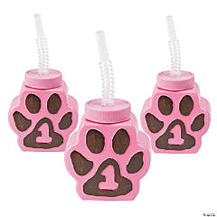 Plastic 1st Birthday Cheetah Paw-Shaped Cups with Straws