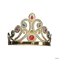 Plastic Adjustable Jeweled Goldtone Tiara
