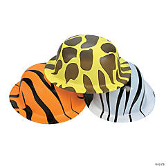 Plastic Animal Print Derby Hats