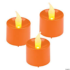 Plastic Battery-Operated Orange Votive Candles