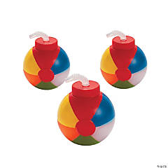 Plastic Beach Ball-Shaped Cups with Lid & Straw