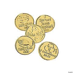 Plastic Bible Verse Goldtone Coins