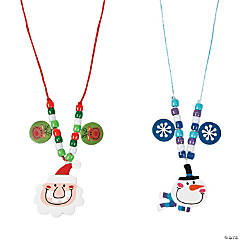 Plastic Big Head Santa & Snowman Necklace Craft Kit