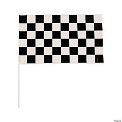 Plastic Black And White Checkered Flags - 16