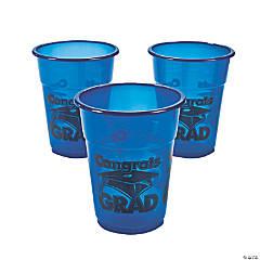 Plastic Blue Congrats Grad Disposable Cups