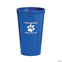 Plastic Blue Paw Print Personalized Tumblers