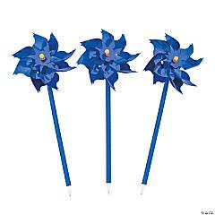 Plastic Blue Pinwheel Pens