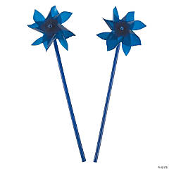 Plastic Blue Pinwheels - 36 Pc.