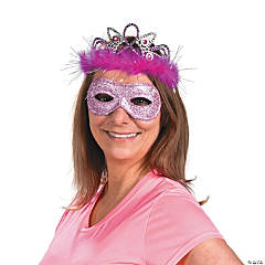 Plastic Breast Cancer Awareness Tiara & Mask Set