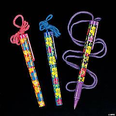Plastic Bright Hibiscus Pen on A Rope