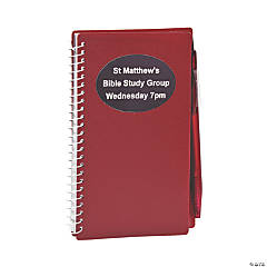 Plastic Burgundy Personalized Spiral Notebook & Pen Sets