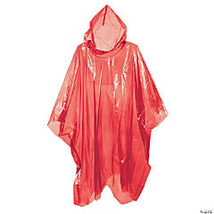 Plastic Burgundy Rain Ponchos for Adults