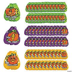 Plastic Christian Pumpkin Drawstring Goody Bags