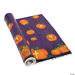 Plastic Christian Pumpkin Tablecloth Roll