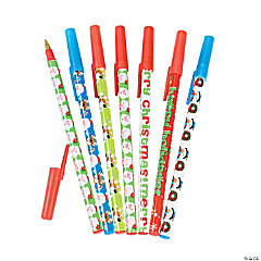 Plastic Christmas Characters Stick Pen Assortment