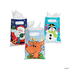 Plastic Christmas Party Favor Bags