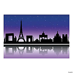 Plastic City of Paris Silhouette Backdrop Banner