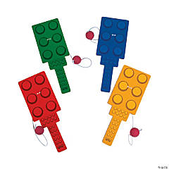 Plastic Color Brick Party Paddleball Games