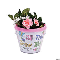 "Plastic Color Your Own ""Growing in God's Grace"" Flowerpots"