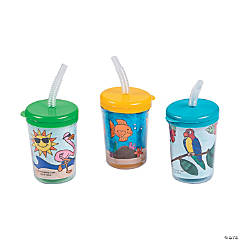 Plastic Color Your Own Tropical Cups with Lids & Straws