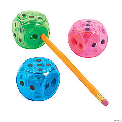 Plastic Colorful Dice Pencil Sharpeners