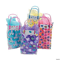 Plastic Colorful Pattern Easter Gift Bags