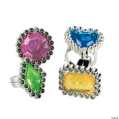 Plastic Colorful Rhinestone Rings