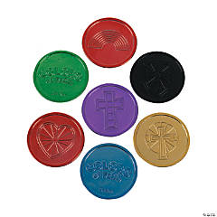 "Plastic ""Colors of Faith"" Coins"