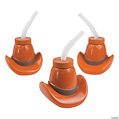 Plastic Cowboy Hat Cups with Lids & Straws