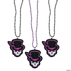 Plastic Day of the Dead Skull Beaded Necklaces