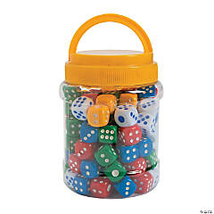 Plastic Dotted Dice in Jar