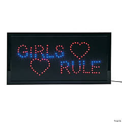 "Plastic ""Girls Rule"" LED Sign"