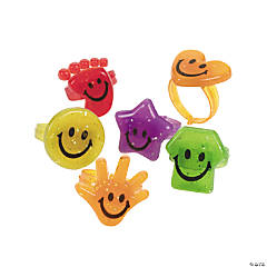 Plastic Glitter Smile Face Rings
