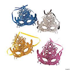 Plastic Glittered Venetian Mardi Gras Masks