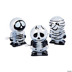 Plastic Glow-in-the-Dark Skeleton & Mummy Wind-Ups PDQ
