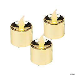 Plastic Gold Battery-Operated Votive Candles
