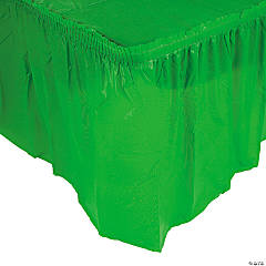 Plastic Green Pleated Tableskirt