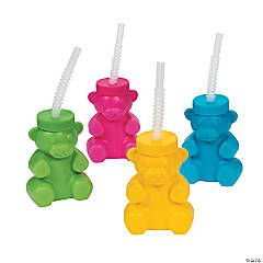 Plastic Gummy Bear Cups with Straws & Lids