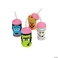 Plastic Halloween Brain Head Cups with Lids & Straws