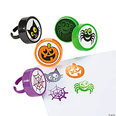 Plastic Halloween Stamper Rings