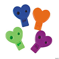 Plastic Heart-Shaped Whistles