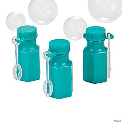 Plastic Hexagon Teal Bubble Bottles