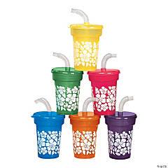 Plastic Hibiscus Print Mini Cups